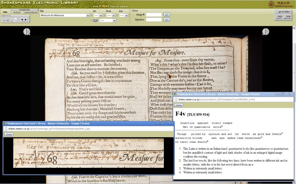 screenshot of Meisei copy showing marginalia and its transcription